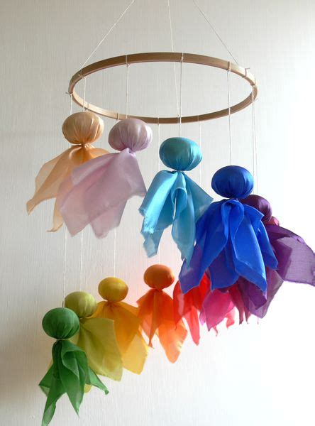 Fairy mobile in rainbow colours from Holz & Stoff